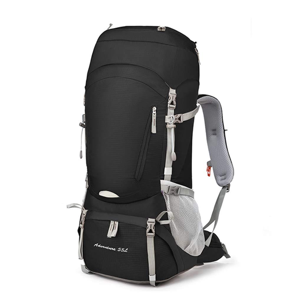 ハイキングバックパックアウトドア登山バッグ旅行クライミングバッグショルダー超軽量ダブル防水男性と女性55 + 10L - レインカバー付き  black B07MX4CDFW