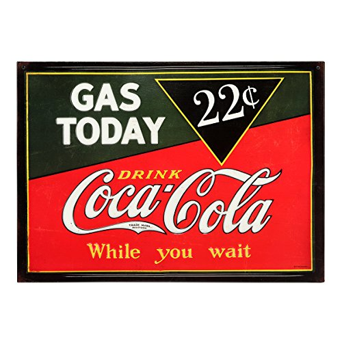 Open Road Brands - Vintage Retro Metal Tin Signs - Coca-Cola Gas Today Sign - for Bars, Diners, Man Caves, and Home Decor