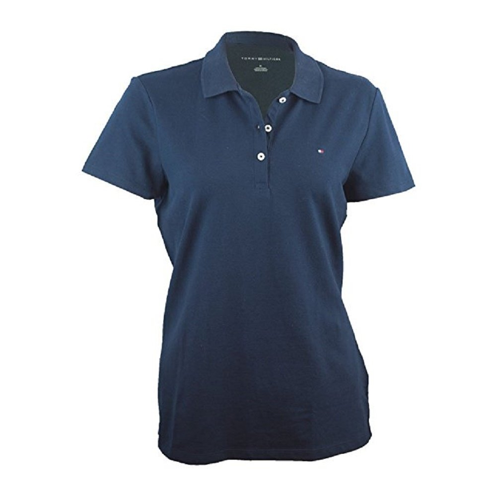 bf6bc66c Tommy Hilfiger Women's Classic Fit 3 Button Logo Short Sleeve Polo Shirt  (X-Large, Navy Blue) at Amazon Women's Clothing store: