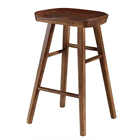 Phenomenal Ljfyxz Bar Stool Retro Wooden Dining Chair Ergonomic Design Curved Seat Kitchen Bar High Stool Bearing Weight 200Kg Size 65Cm Squirreltailoven Fun Painted Chair Ideas Images Squirreltailovenorg