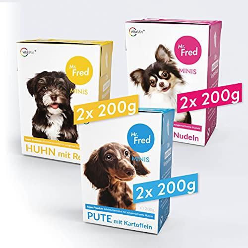 Mr. Fred- Hundefutter nass   Super Premium Nassfutter für Hunde   Probierbox 6 x 200g   Lebensmittelqualität   Rind…