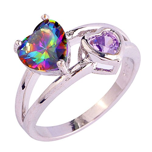 PAKULA Womens Heart Shaped Rainbow Cubic Zirconia CZ Promise Engagement Cocktail Ring ()