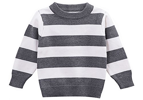 Moonnut Little Boys' Crewneck Striped Pullover Sweater,4T,grey&white