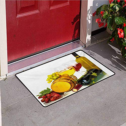 - Jinguizi Wine Universal Door mat Composition with Small Barrel Two Types of Grapes Drinks Beverage Product Door mat Floor Decoration W15.7 x L23.6 Inch Red Yellow Pale Green