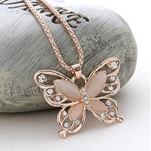 Dolland Women Girls Rose Gold Opal Butterfly Pendant Necklace Sweater Chain
