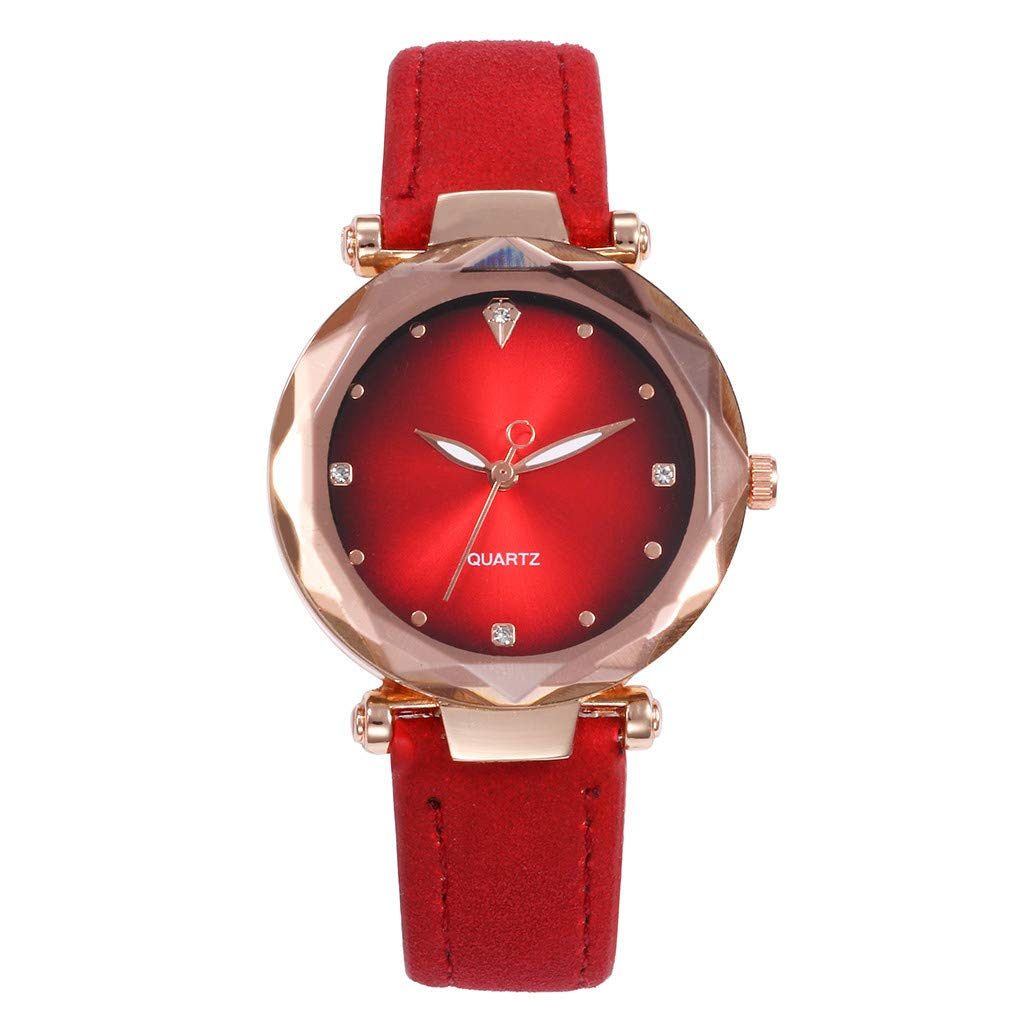 Starry Sky Watch for Women, Crystal Dial Analog Quartz Wristwtach with Suede Pu Leather Band BravetoshopV437RU(Red)