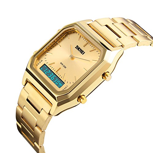 UTime Luxury Designer Mens Sport Gold Digital Chronograph Waterproof Watch for Gents ()