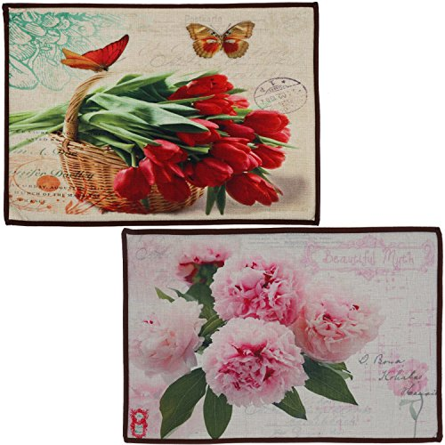SET OF 2 NON-SLIP INDOOR FLOOR MATS - Beautiful Accent Area Rugs for Home, Kitchen or Bathroom Decor, Rose, Tulip, Flower Edition