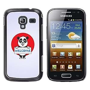 TECHCASE**Cubierta de la caja de protección la piel dura para el ** Samsung Galaxy Ace 2 I8160 Ace II X S7560M ** Welcome Sign Panda Bear Japan Flag Red White