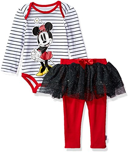 Disney Baby Girls' Minnie Mouse 2 Piece Skegging and Bodysuit Set, Black/White/Red, 12 Months (Minnie Mouse Clothing)