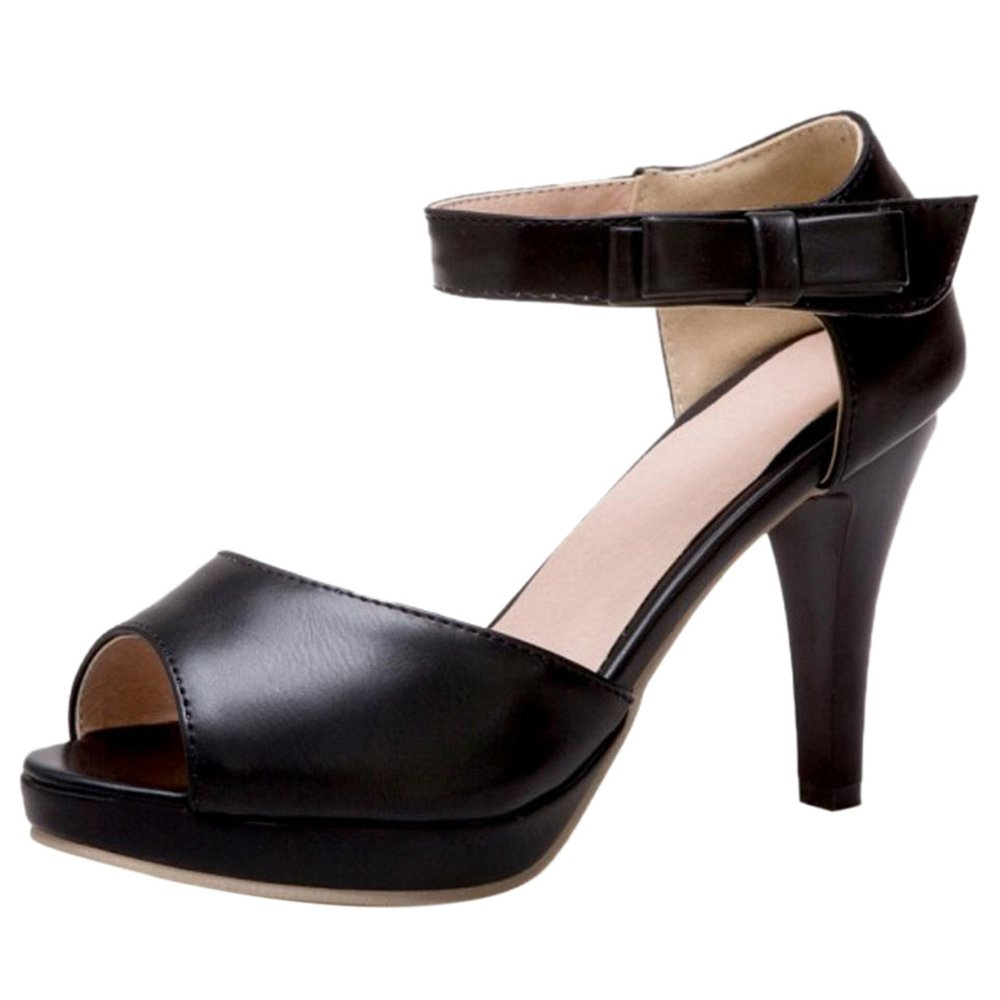 TAOFFEN Damen High Heel Peep Toe Sandalen Sommer  37 EU|Black