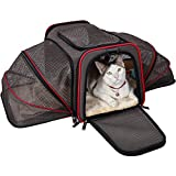 Petsfit Most Airline Approved Expandable Pet Travel Carrier - Two Side Expansion - Extra Spacious Soft Sided Carrier for Cats - Small Dogs - Puppies - Easy Carry on Luggage with Fleece Mat 18