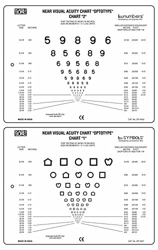 Near Vision Card with LEA SYMBOLS & LEA NUMBERS Include 16'' Cord