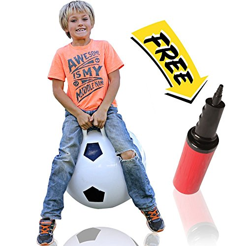 Football Bouncy Balls (WALIKI TOYS Hopper Ball For Kids Ages 3-6 (Hippity Hop Ball, Hopping Ball, Bouncy Ball With Handles, Sit & Bounce, Kangaroo Bouncer, Jumping Ball, 18 Inches, Soccer, Pump Included))