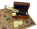 """Well Pack Box Treasure Hunt Pirate Party Brass Telescope 6"""" Compass 6 Metal Pirate Gold Coin Replicas Rosewood Spyglass Case Treasure Map for Adults Kids"""