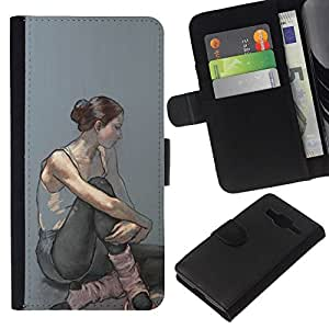 All Phone Most Case / Oferta Especial Cáscara Funda de cuero Monedero Cubierta de proteccion Caso / Wallet Case for Samsung Galaxy Core Prime // Ballerina Woman Painting Art