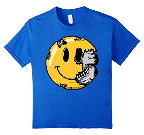 Scary Smiley Face (Kids Halloween Scary Smiley Face T Shirt Smiling Skull Skeleton 10 Royal Blue)