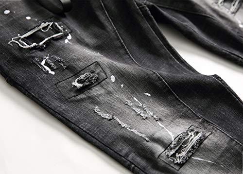 Moda Pintar De Alta Media Pequeños Cintura 31 Hombres Hombre Sfsf Jeans Agujero Elásticos Apertura Estaciones Pantalones Derecho Empalme Salvaje Gama Botones Cuatro Cw5IzZAqx