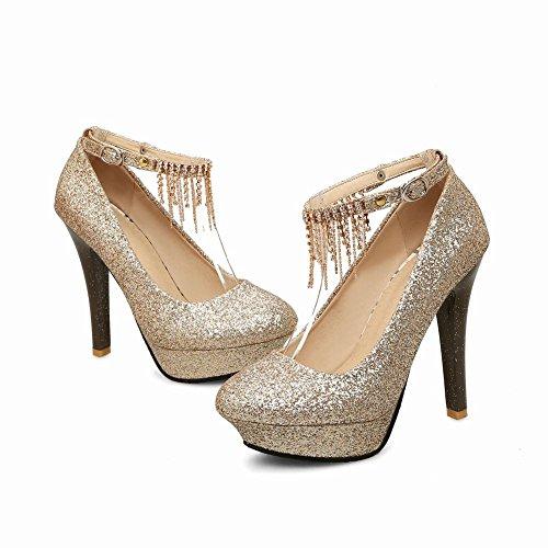 Carolbar Women's Bling Bling Sexy High Heel Buckle Sequins Dress Shoes Gold aHV59qlef