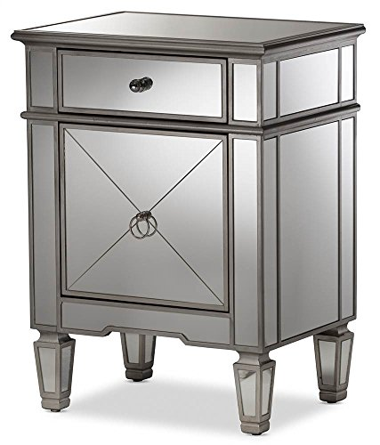 Baxton Studio Hollywood Regency Glamour Style Mirrored Nightstand ()