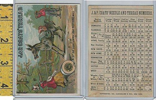 Donkey Coat - Victorian Card, 1890's, J&P Coats Thread, Black Americana, Donkey