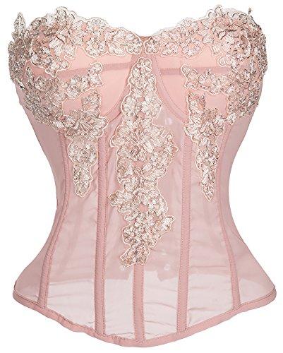 (Alivila.Y Fashion Womens Chiffon Bridal Appliques Corset Lingerie C45-Pink-XL)