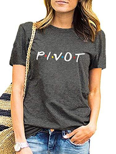 Friends Shirt Womens Pivot Funny Cute Short Sleeve T Shirts Graphic Tee Tops Grey