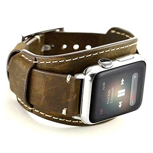 Leotop Compatible with Apple Watch Band 42mm Men Women Genuine Leather Replacement iwatch Bracelet Wrist Strap Compatible Apple Watch Series 3/2/1 Nike+ Sports Edition Hermes(Crazy Horse Cuff ()