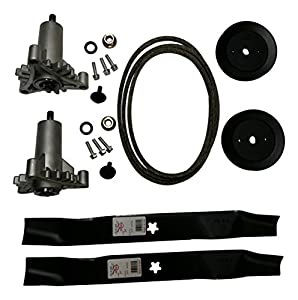 Craftsman Deck Rebuild Kit With Heavy Duty Spindles, 2 Heavy Duty Spindles (130794), 2 Blades (134149), 2 Pulleys (173436), Deck Belt (for 144959) Craftsman Poulan Husqvarna by Aftermarket For Craftsman Poulan Husqvarna