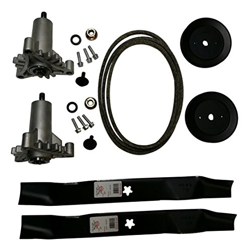 Mr mower parts deck rebuild kit for craftsman poulan Husqvarna included 2 heavy duty spindles 130794, 2 mulcher blades 134149, 2 pulleys 173436, deck belt 144959 95