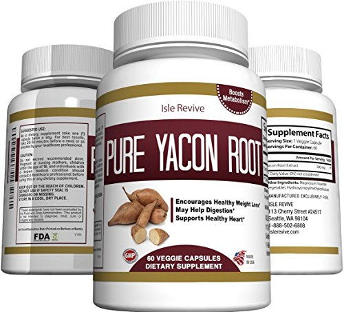 Pure Yacon Root Powder Extract Capsules - All Natural Prebiotic Supplement Detox and Cleanse, Weight Loss, Digestion, Boosts Metabolism, and Suppresses Appetite - 60 Caps - 30 Day Supply - Made in USA by Isle Revive