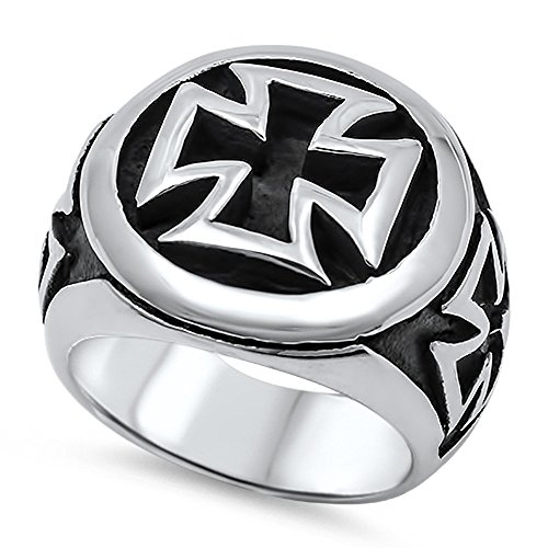 Stainless Steel Classic Anarchy Iron Cross Ring Size 8 (Anarchy Cross)