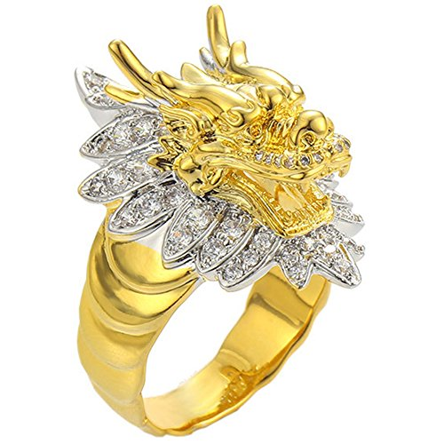 loyoe jewelry 18K Gold Filled CZ Iced Out Roar Dragon Finger Ring Men -Hip Hop Fashion Band Sizes 9-12 (10)