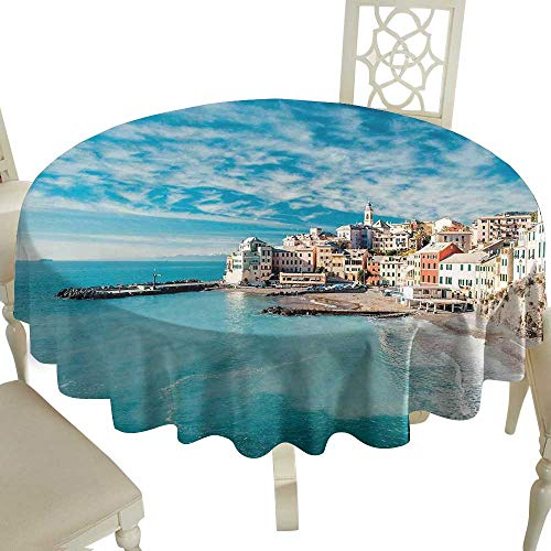 Cranekey Summer Round Tablecloth 60 Inch Italy,Panorama of Old Italian Fishing Village Beach in Old Province Coastal Charm Image,Turquoise Perfect for Spring,Summer,Farmhouse Décor,& More (Opal Italian Charm)