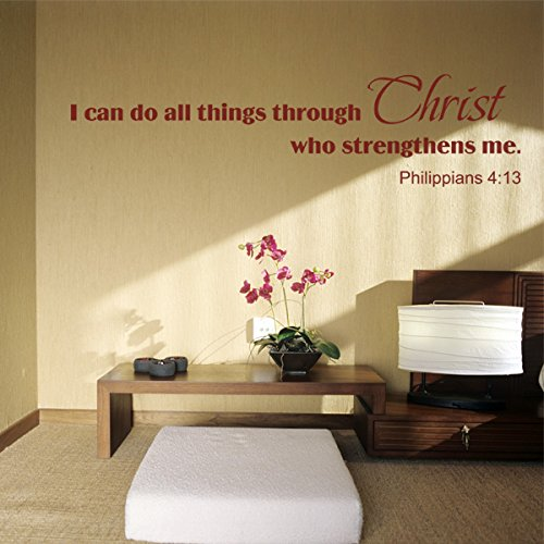 [MairGwall Bible Quote - I can do all things through Christ... Bible Verse Wall Sticker Vinyl Wall Decal (Black,] (Things That Start With Letter I)