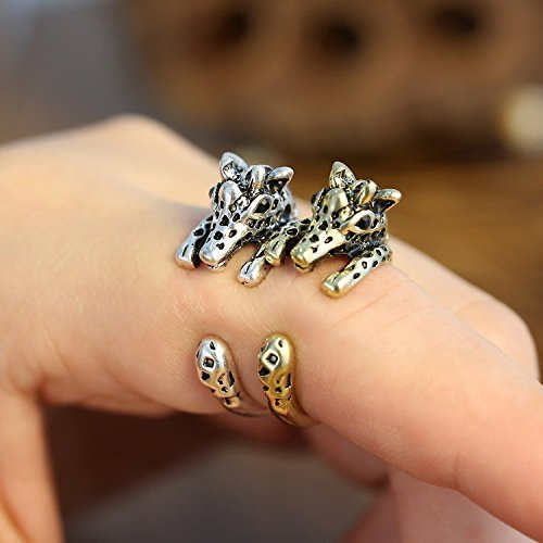 2 pcs Chic Giraffe Ajustable Animal Wrap Ring Open Knuckle Ring