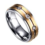 ALBEST Jewelry Women's Titanium Steel Mosaic Rhinestones 18k Gold Plated Couple Rings Size 13