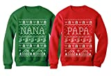 Nana & Papa Matching Ugly Christmas Sweatshirts Set Xmas Gift for Grandparents Women Sweatshirt Green X-Large/Sweatshirt Red X-Large