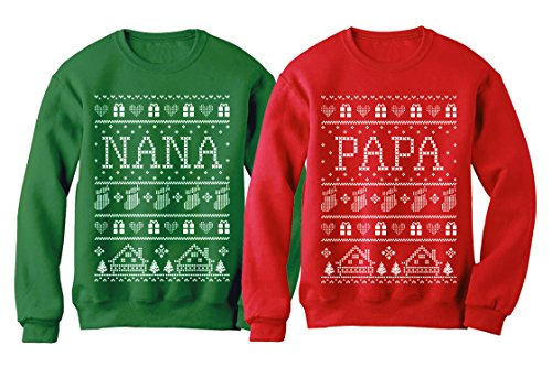 Nana & Papa Matching Ugly Christmas Sweatshirts Set Xmas Gift for Grandparents Women Sweatshirt Green X-Large/Sweatshirt Red X-Large by Tstars