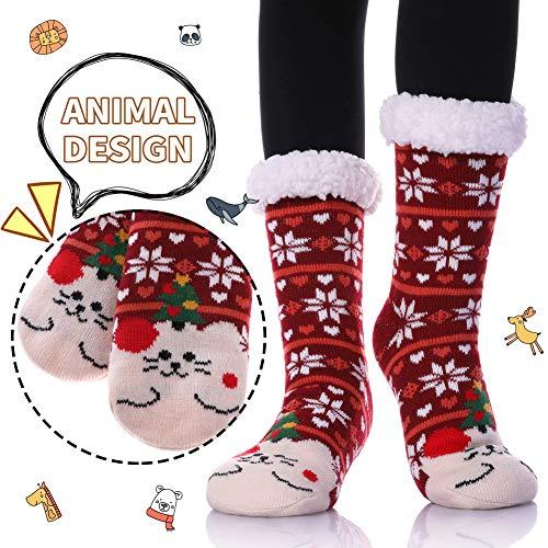 (Dosoni Womens Girls Faux Fur Fuzzy Winter Asymmetric Cartoon Animal Cute Fleece-lined Winter Slipper Socks with Grippers (Snowflake Cat))