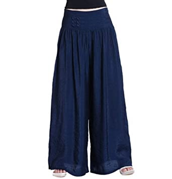 Women Casual Loose Long Wide Leg Elastic Waist Pants Trousers ...