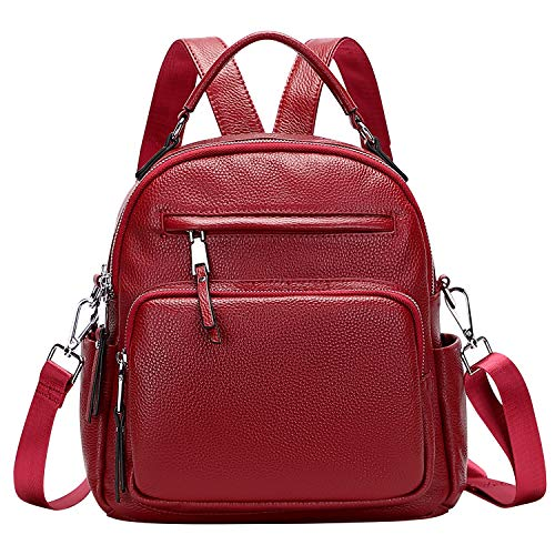 ALTOSY Genuine Leather Backpack for Women Small Convertible Backpack Purse Ladies Shoulder Bag 4 in 1 to Carry