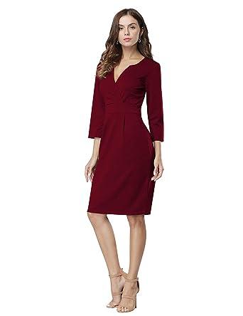 b8649a77f4b HiQueen Women s 3 4Sleeve Wear to Work Office Career Sheath Midi Dress (S