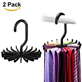 "IPOW 2 Pack 360 Degree Rotating Twirl Tie Rack Adjustable Tie Belt Hanger Holder Hook Ties for Closet Organizer Storage (4.4""black)"