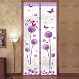 Magnetic Fly Screen Door, Dandelion Pattern Magnetic Fly Insect Screen Door Screen Mesh Curtain Fits Door, Magic Curtain Door Mesh (90210,purple)