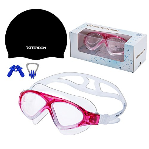 Swimming Goggles Vista Roterdon Adults Swim Equipments|Antifog Mirrored And UV Protection Water Proof Kids Boys Girls Goggles from Amazon Online Store|Free Swim Cap + Nose Clip + Ear - Purchase Goggles Online