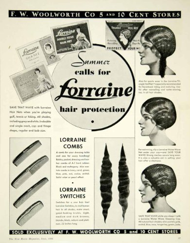 1935 Ad Vintage Hair Net Switches Comb Sleeping Cap F W Woolworth 5 & 10 Stores - Original Print Ad