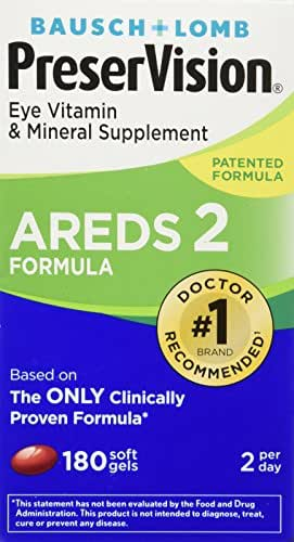 Bausch and Lomb PreserVision AREDS 2 Formula Eye Vitamin and Mineral Supplement - 180 Softgels