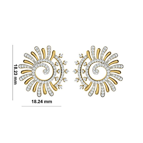 Libertini Boucle d'oreille argent 925 plaque or Jaune serti de Diamant