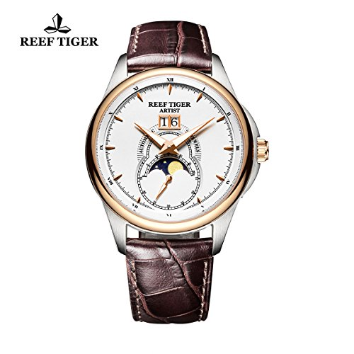 Reef Tiger Mens Watches Moon Phase Big Date Steel Rose Gold White Dial Leather Strap Watch RGA1928 (Automatic Moon Phase Watch)